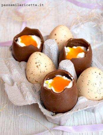 finte uova alla coque di cioccolato dolce pasquale