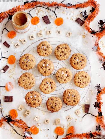 monster cookies biscotti al burro di arachidi e avena